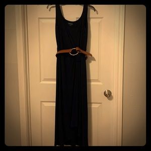Ralph Lauren navy high low dress w/ tan gold belt
